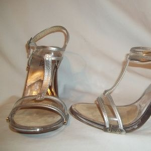 MICHAEL KORS  Silver & Clear T-Strap Shoes 7